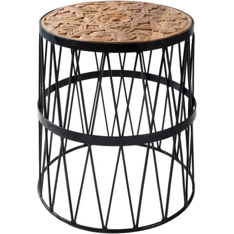 """Nas Hand Carved Wood & Metal 19-inch Side Table - 19""""H x 17""""W x 17""""D"""