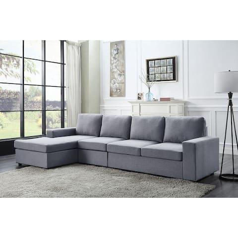Dunlin Light Gray Linen Reversible Modular Sectional Sofa Chaise