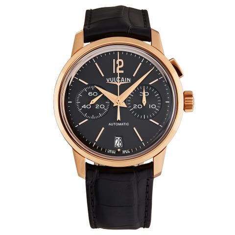 Vulcain Men's 570557.313L '50 Presidents' Black Dial Chronograph 18k Rose Gold Automatic Watch