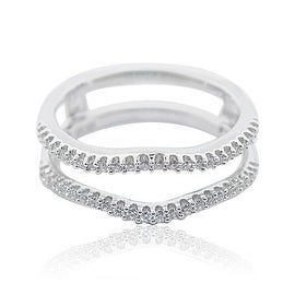 1/5cttw Diamond Ring Jacket Solitaire Guard 10K White Gold 9.75mm Wid