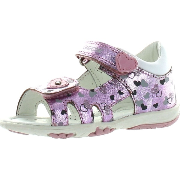Geox Girls Nicely Hearts Fashion Metallic Sandals - medium pink - 21 m eu / 5.5 m us toddler