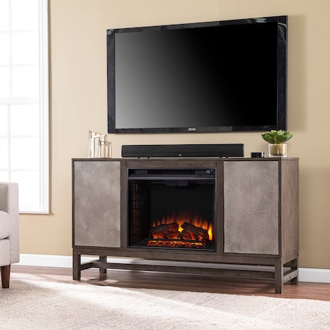 Silver Orchid Lanigan Contemporary Brown Wood Electric Fireplace