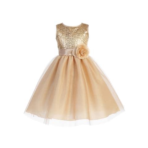 Blossom Girls Gold Sequin Mesh Glitter Tulle Junior Bridesmaid Dress