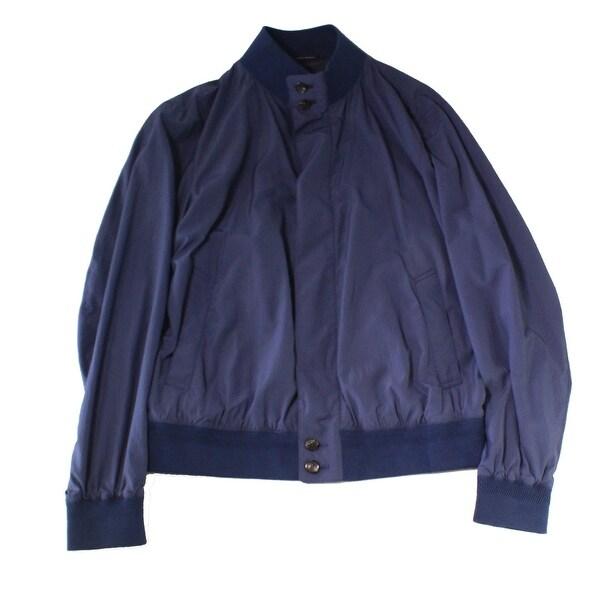 0a1fb0ef Shop Ermenegildo Zegna Navy Blue Mens 52R Button Front Bomber Jacket ...