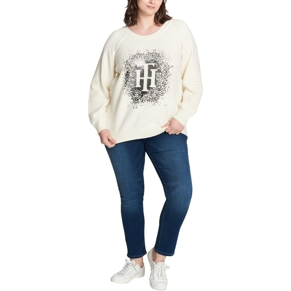 33ef6480c534 Shop Tommy Hilfiger Womens Plus Pullover Sweater Sparkle Logo - Free ...