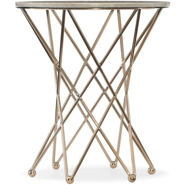 """Hooker Furniture 5443-50416 24"""" Wide Metal and Marble Accent Table from the Highland Park Collection - Soft Gold"""