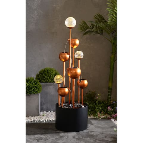 "Brandt Lit Copper and Black with Glass Spheres Floor Fountain - 14"" x 47"""