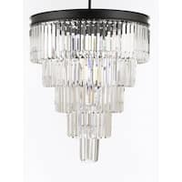 Retro Palladium Crystal Glass Fringe 5 Tier Chandelier