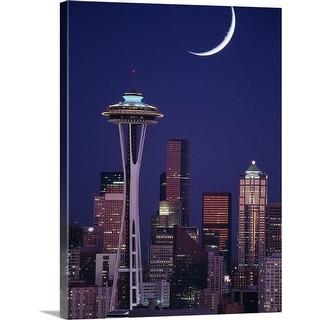 """Seattle skyline at night, Washington State"" Canvas Wall Art"
