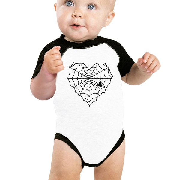 Heart Spider Web Cute Halloween Bodysuit Baby Baseball Bodysuit Gifts