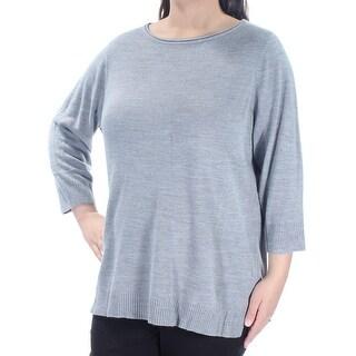 KAREN SCOTT Womens New 1052 Gray Long Sleeve Jewel Neck Casual Top 1X Plus B+B