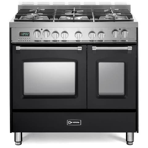 """Verona VPFSGE365D Prestige 36"""" Wide 2.5 Cu. Ft. Free Standing Dual Fuel Double Oven Range - Stainless Steel"""