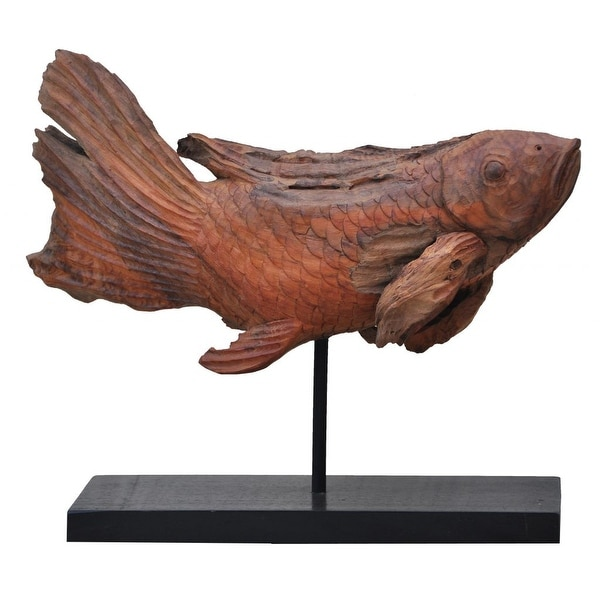 """25"""" Brick Red Artistic Style Pedestal Mounted Koi Fish Carved Sculpture - N/A"""