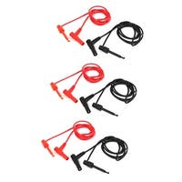 Multimeter Probe Banana to Test Hook Clip Cable Black Red 1M 6 Pcs