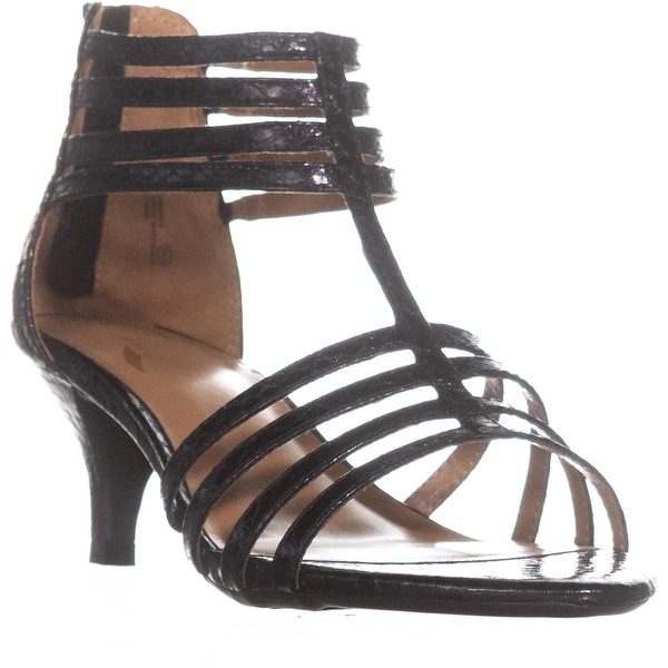 Aerosoles Limeade Strappy Zip Up Dress Sandals, Black Exotic - 9.5 us