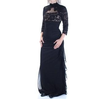 Womens Black Long Sleeve Full-Length Body Con Formal Dress Size: 4