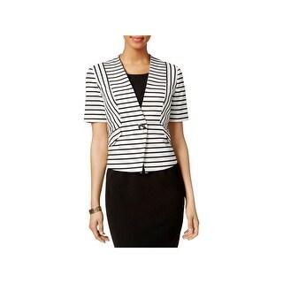 Nine West Womens Blazer Striped Short Sleeves