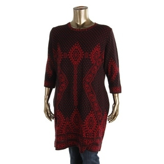 NY Collection Womens Plus Printed 3/4 Sleeves Tunic Sweater