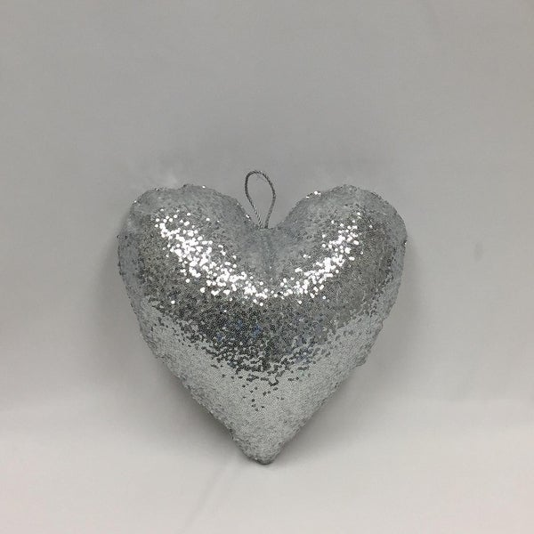 """12"""" Sparkly Silver Inflatable Sequin Heart Christmas Ornament"""