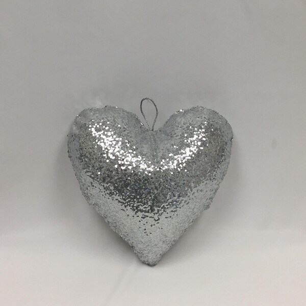 """16"""" Inflatable Heart Shaped Sequins Ornament (Silver)"""