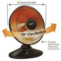 Comfort Zone CZ998 Oscillating Parabolic Dish Heater, Black