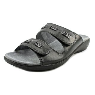 Trotters Kap Women Open Toe Leather Black Slides Sandal