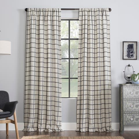 Clean Window Twill Plaid Anti-Dust Sheer Linen Blend Curtain Panel, Single Panel
