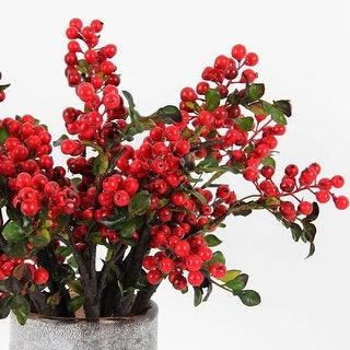 "FloralGoods Artificial Berry Stem in Red 18"" Tall"