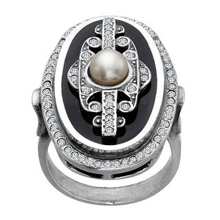 Van Kempen Pearl Art Deco Medallion Ring with Swarovski Crystals in Sterling Silver