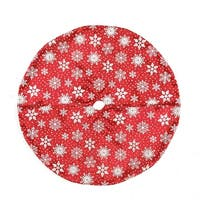 """20"""" Red and White Snowflake Design on Sheer Organza with Silver Glitter Mini Christmas Tree Skirt"""