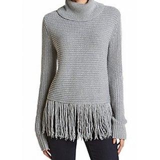 MICHAEL Michael Kors NEW Gray Womens XL Fringe Turtleneck Sweater