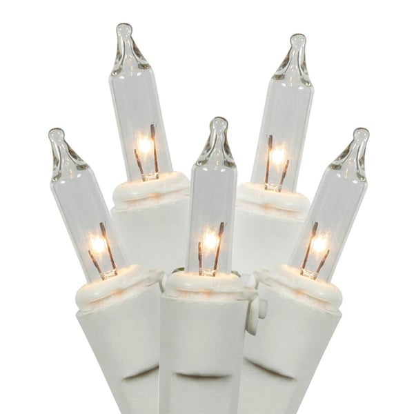 Set of 50 Clear Mini Christmas Lights - White Wire
