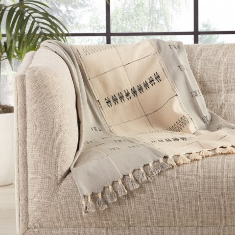 Kumari Hand-Loomed Tribal Cream/ Gray Throw