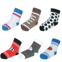 Jefferies Socks Baby Sport Pattern Crew Socks (6 Pair Pack)