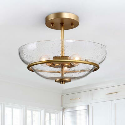 """Modern 3-Lights Gold Bowl Semi-Flush Mount Light with Seeded Glass Shade - W12""""x H9"""""""