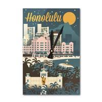Honolulu, Hawaii - Retro Skyline - LP Artwork (Acrylic Wall Clock) - acrylic wall clock