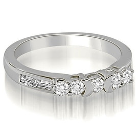 0.60 cttw. 14K White Gold Round and Baguette Diamond Wedding Band