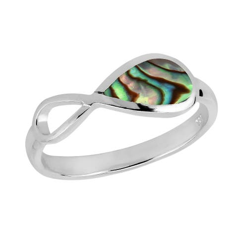 Handmade Everlasting Infinity Bond Semi inlay Sterling Silver Ring (Thailand)