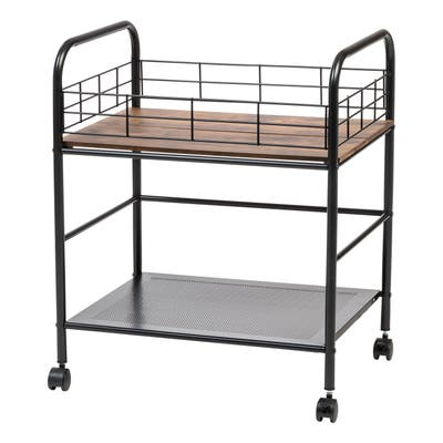Wide Wood and Metal Rolling Storage Cart