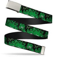 Marvel Comics Blank Chrome Buckle The Hulk Stacked Webbing Web Belt