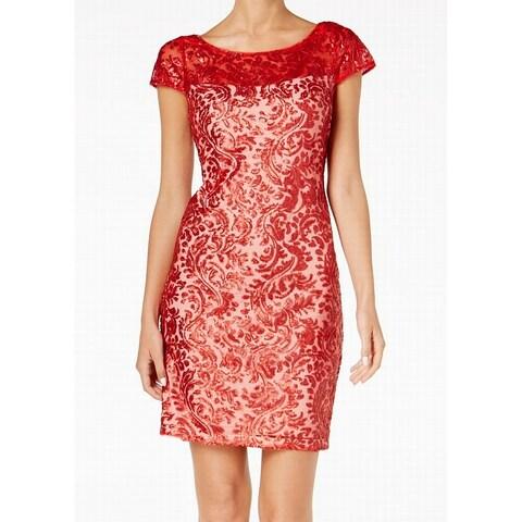 Calvin Klein Red Womens Size 6 Sequined Cap Sleeve Sheath Dress