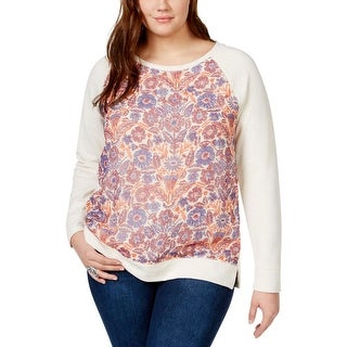 Lucky Brand Womens Plus Sweatshirt Floral Printed Cotton