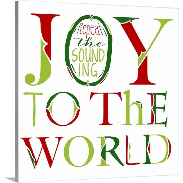 """Joy to the World on White"" Canvas Wall Art"