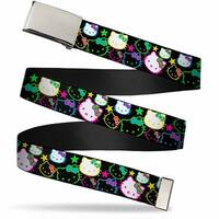 Blank Chrome Bo Buckle Hello Kitty Face Stars Scattered Black Multi Web Belt