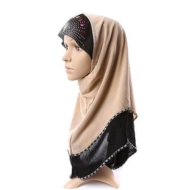 Muslim Scarf Kerchief Hat Macrame Zircon Thin khaki