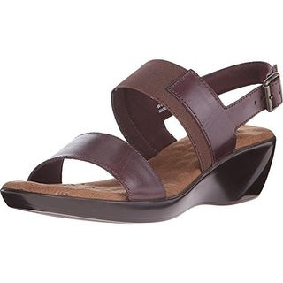 Walking Cradles Womens Climb Leather Slingback Wedge Sandals
