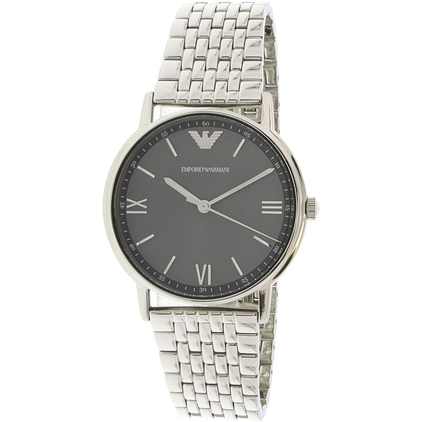 466b01f26 Shop Emporio Armani Men's Kappa Silver Stainless-Steel Fashion Watch - Free  Shipping Today - Overstock - 18914598