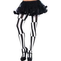 Striped Illusion Pantyhose - BLACK/WHITE - One Size Fits most