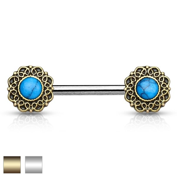 Turquoise Center Heart Filigree Ends Surgical Steel Nipple Barbell - 14GA (Sold Ind.)
