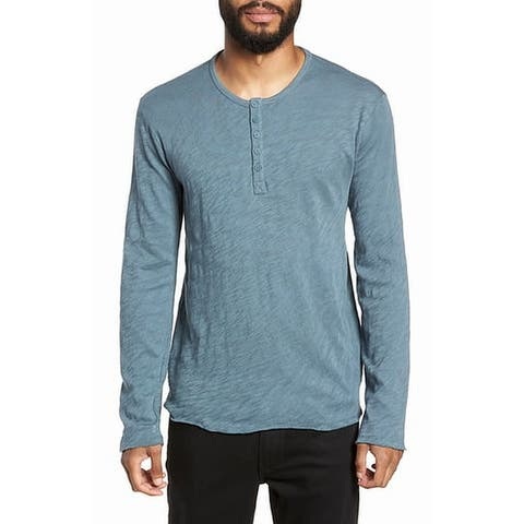 ATM Mens Shirt Blue Size XL Knit Destroyed Wash Henley Long-Sleeve